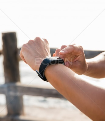 View of a watch on a woman arm