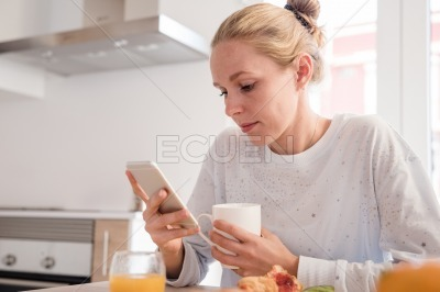 Close up of woman texting on a cell phone