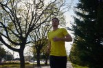 Close up of a man running in a park