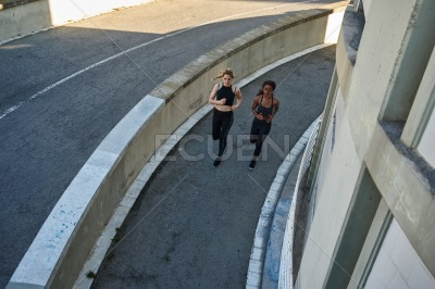 Aerial view of two women joggers