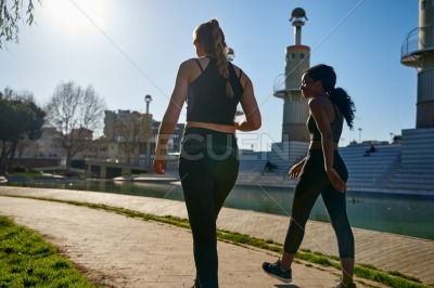 Rear view of two women walking in a park