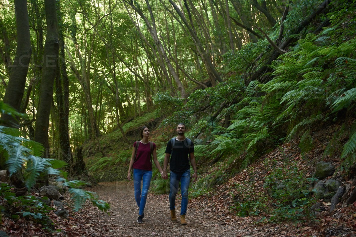 Couple talking a romantic walk in the woods stock photo