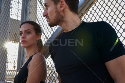 Young couple looking pensively into the distance
