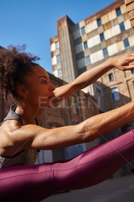 Dedicated young woman working out outdoors
