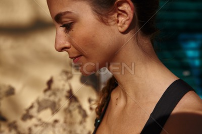 Close up of a young girl looking down