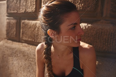 Close up of a pretty dark haired young woman